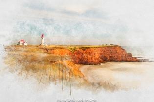 Long exposure at golden hour of the l'Anse-à-la-Cabane lighthouse in Havre-Aubert on Magdalen Islands, Quebec ---- Exposition lente à l'heure dorée du phare de l'Anse-à-la-Cabane à Havre-Aubert aux Îles-de-la-Madeleine, Québec