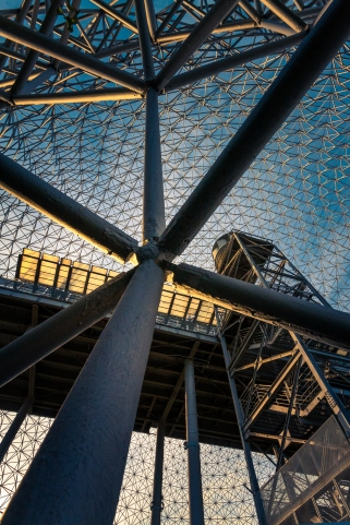 Le dôme géodésique de la Biosphère à l'Île Sainte-Hélène, créé par Richard Buckminster Fuller