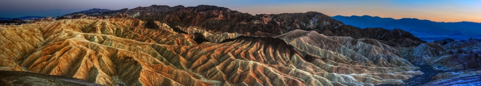 Sunset on Zabriskie Point panorama, Death Valley, Nevada