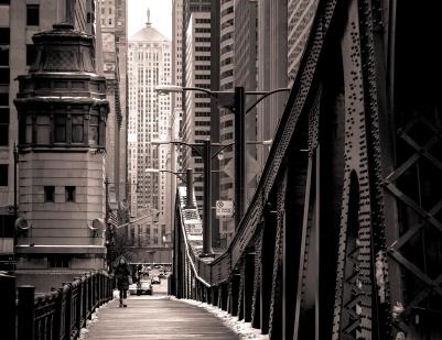 Pont sur le centre-ville de Chicago