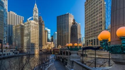 Promenade Riverside au petit matin à Chicago