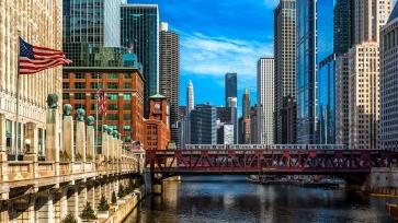 Centre-ville de Chicago vu du pont de la rue Franklin