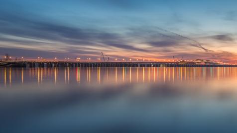 L'estacade du pont Champlain au lever du jour