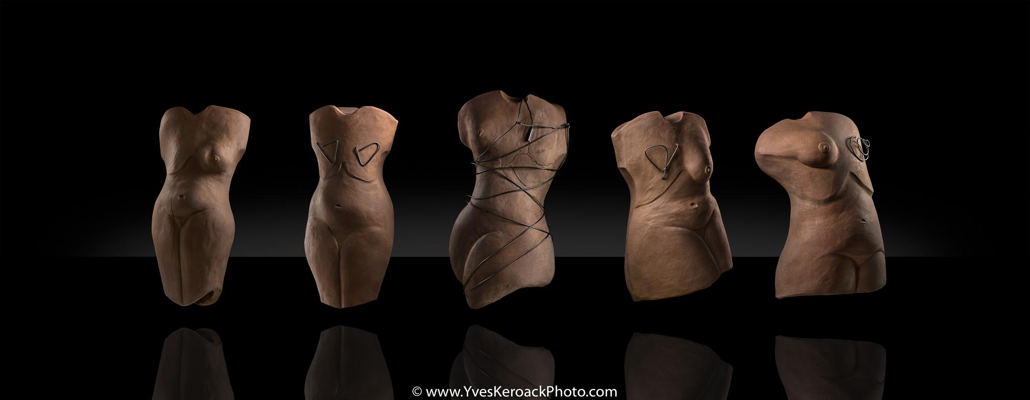 Sculptures sur le thème du cancer du sein