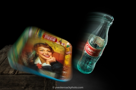 Coke bottle and tray